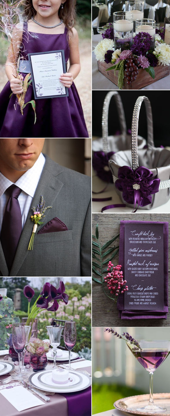 elegant and noble plum purple wedding color ideas for fall