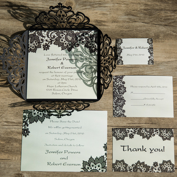 elegant black lace pattern laser cut wedding invitations EWWS062