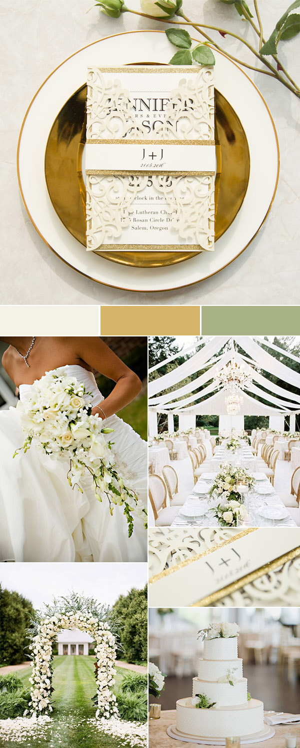 glamorous ivory white and gold wedding inspiration