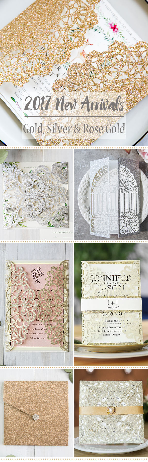 Trendy Glitter Gold & Silver Wedding Invitations From EWI 2017 New Arrivals