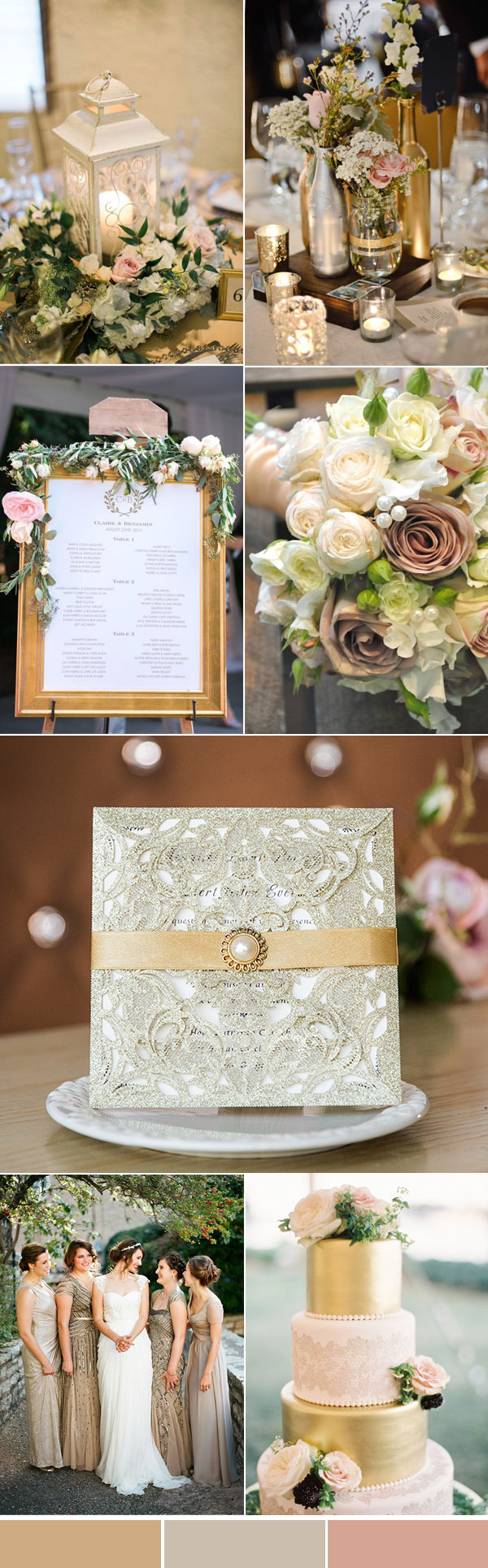 gold and blush vintage neutral wedding colors