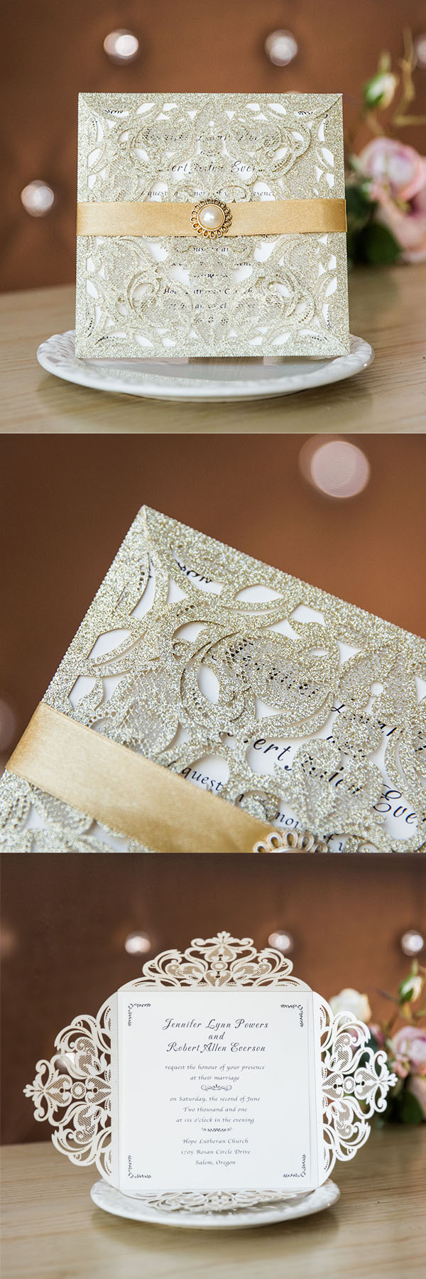 gold glittery laser cut wedding invites with pearl buckle and ribbon