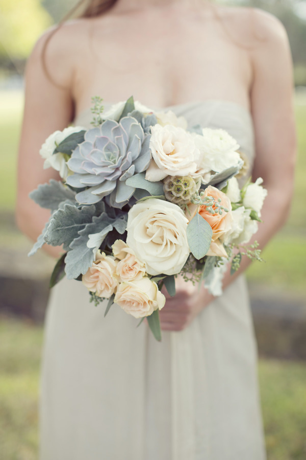 green succulents and peach wedding flowers
