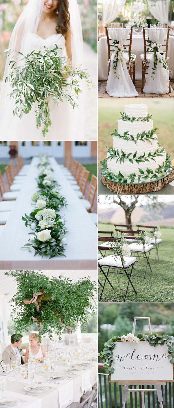 greenery and pure white wedding color combos for fall