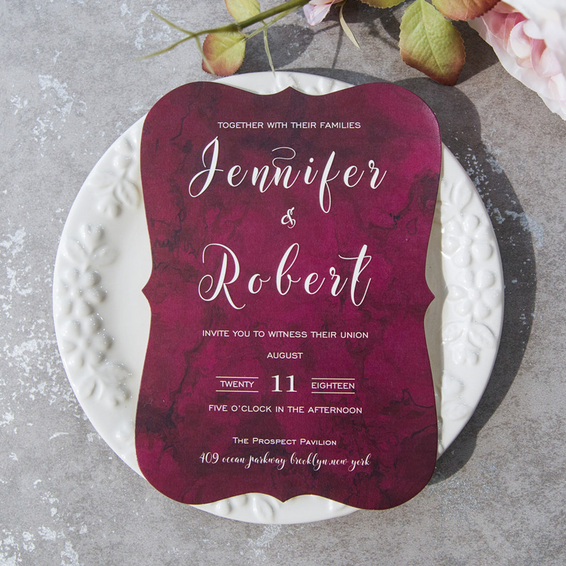 inexpensive modern burgundy bracket wedding invitations EWI422b
