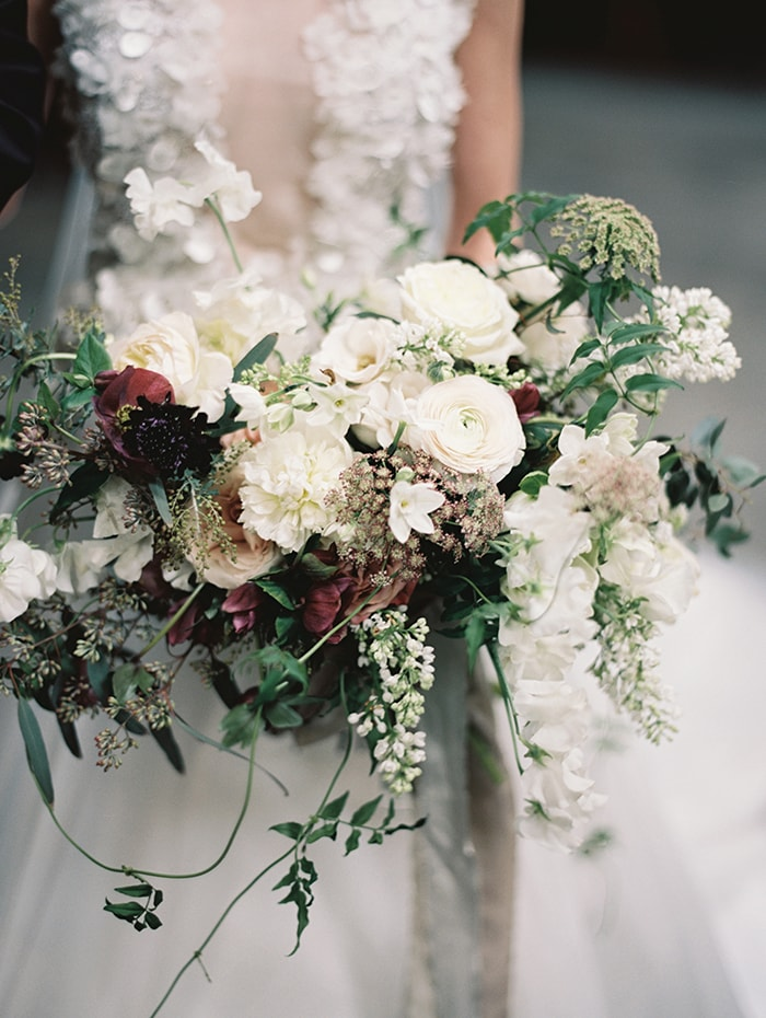 lush organic burgundy and white bridal bouquets