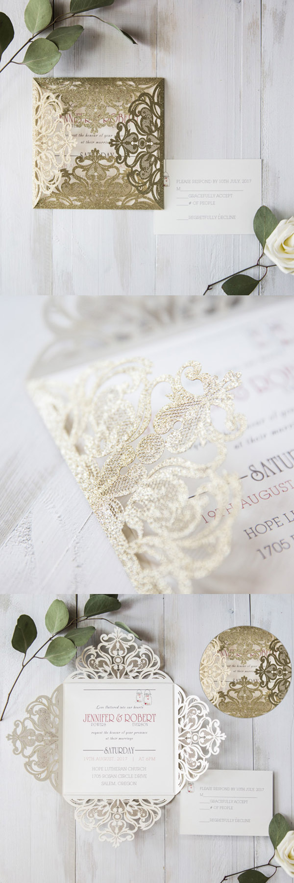 modern glitter gold laser cut wedding invites