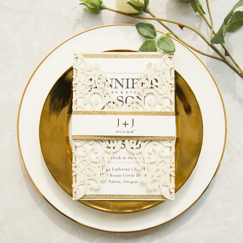 modern ivory laser cut invitations with gold glittery belly band EWWS161