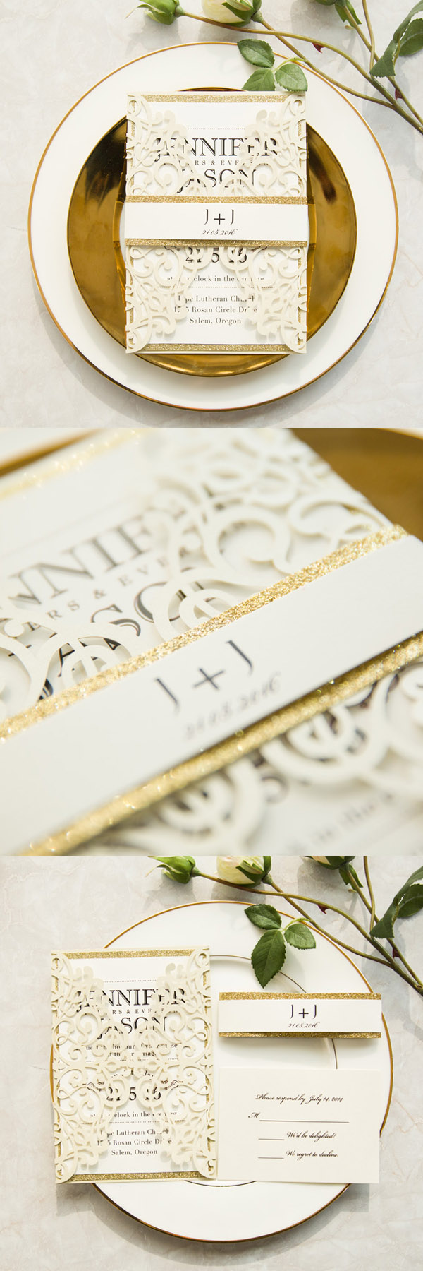 modern ivory laser cut invitations with gold glittery belly band