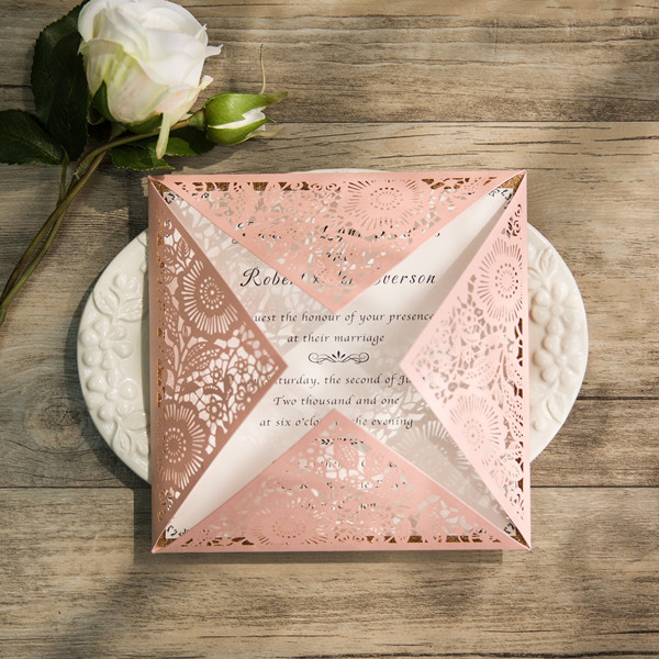 pink glittery floral laser cut wedding invites EWWS105
