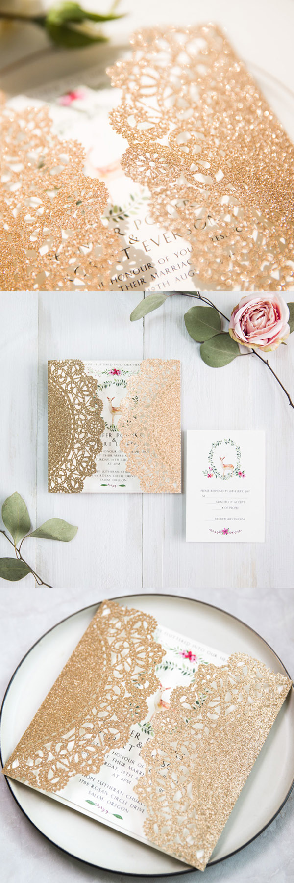 rose gold boho floral laser cut wedding invitations