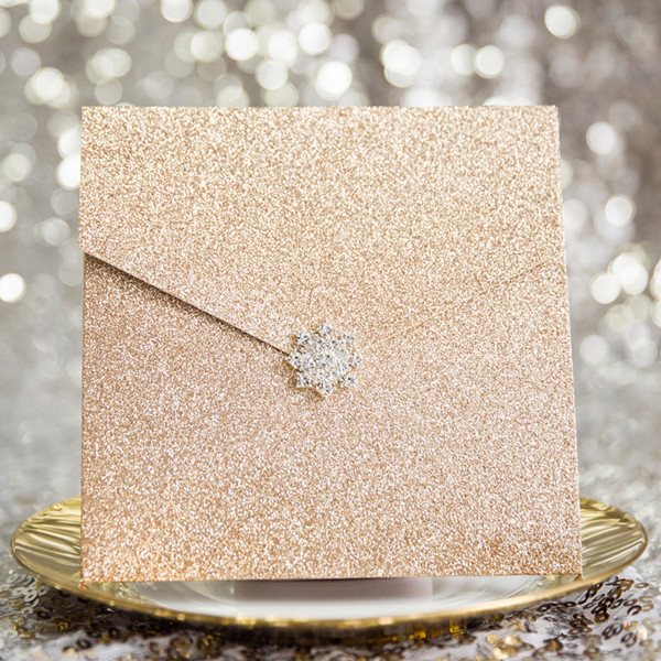 rose gold glittery pocket wedding invitations with rhinestone buckle EWWS154