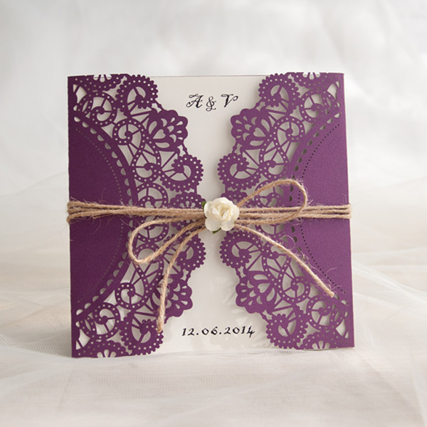 rustic purple laser cut invitations with twine and flower EWWS057