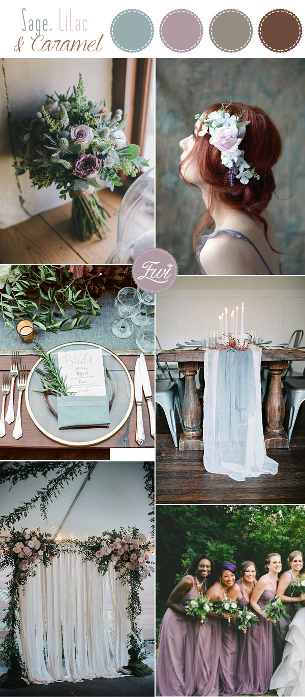 sage green, lilac and caramel nude wedding color inspiration