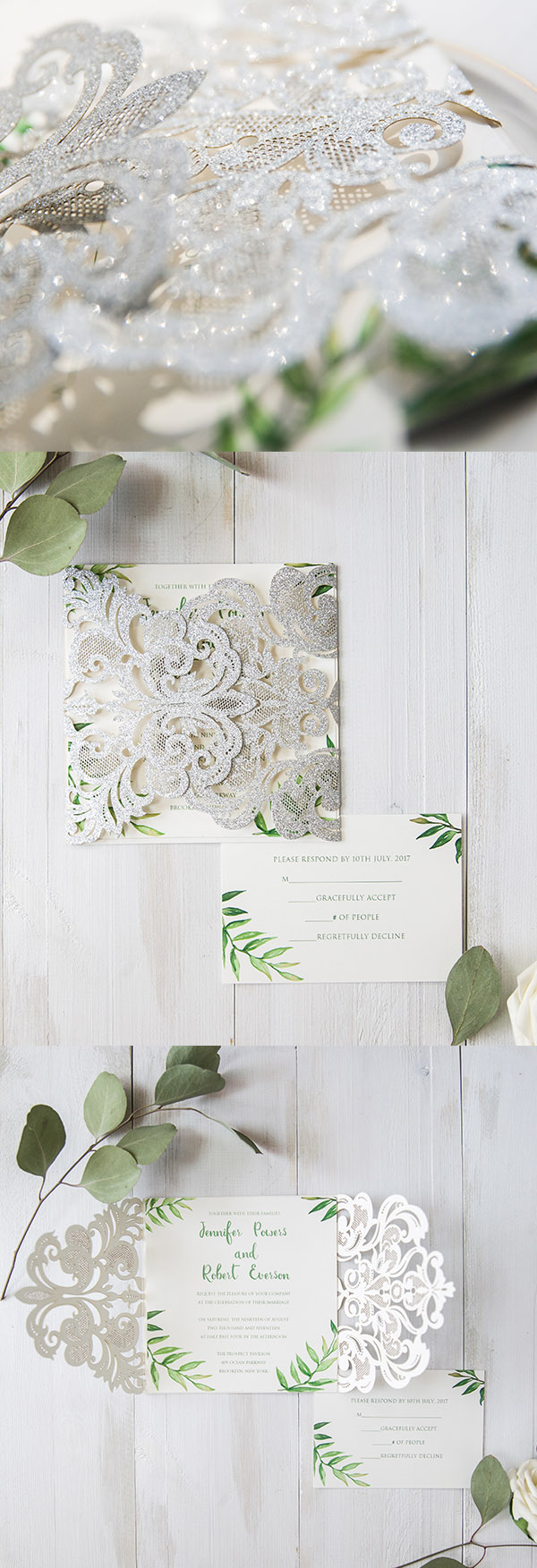 silver and green leave laser cut wedding invites