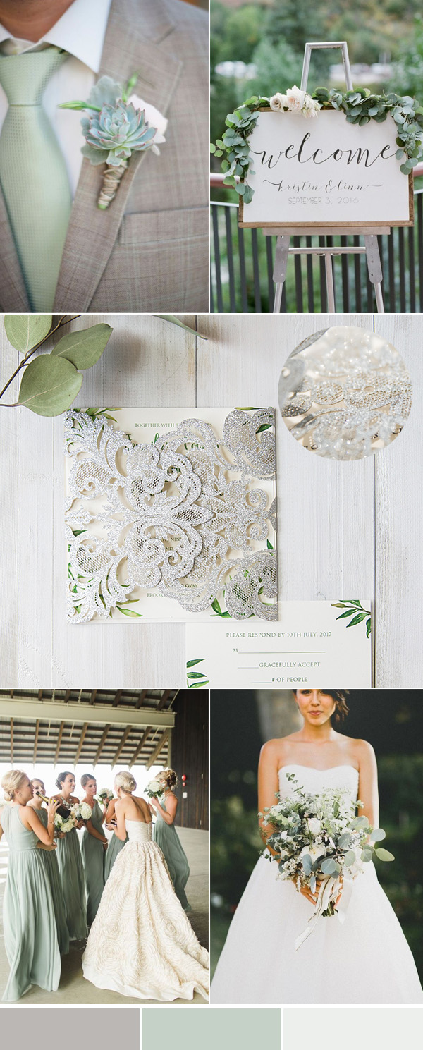 silver and greenery laser cut wedding invitations with matching color ideas