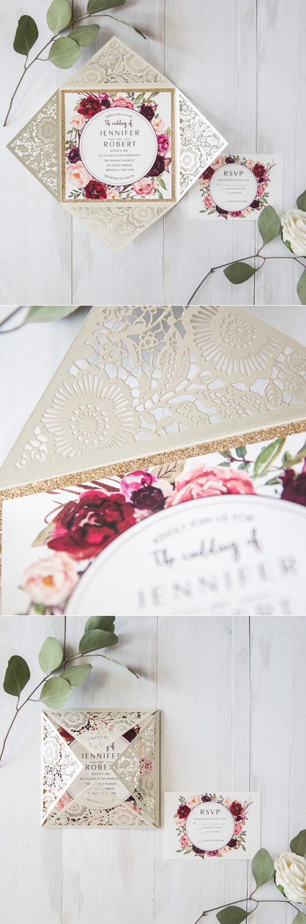 Ivory and burgundy laser cut wedding invitations with glittery bottom