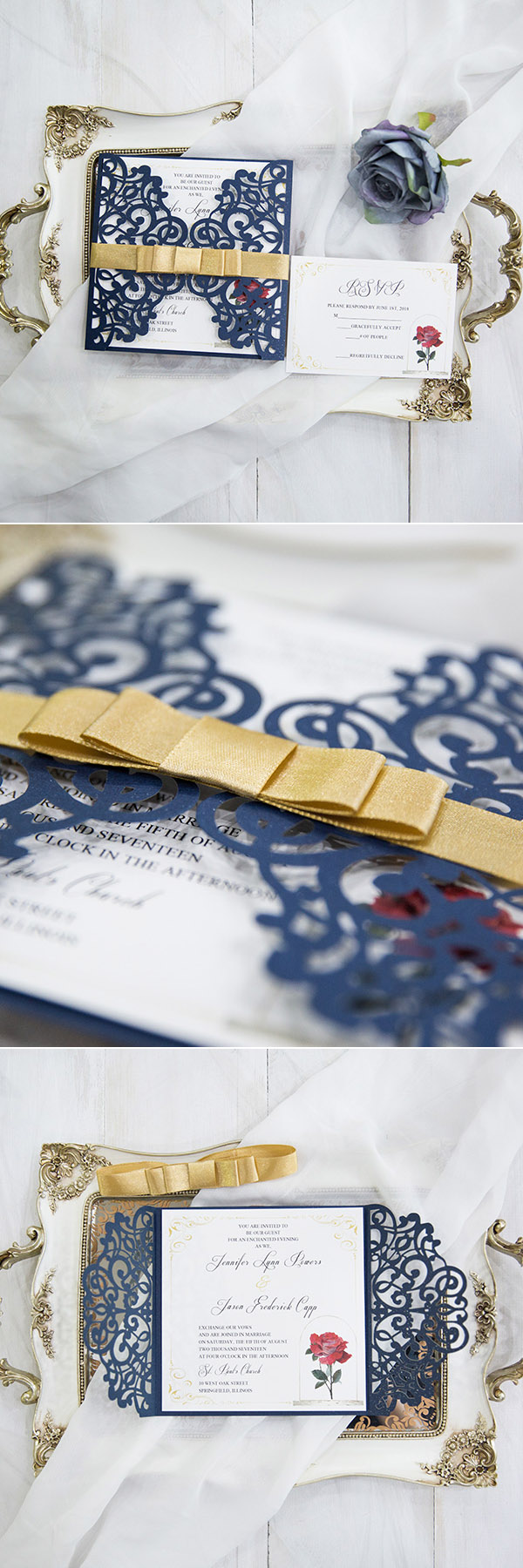Navy Blue And Yellow Beauty And The Beast Inspired Laser Cut Wedding  Invitation Cards