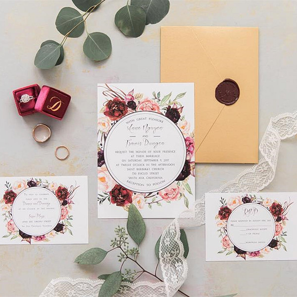 cheap burgundy floral boho wedding invitations