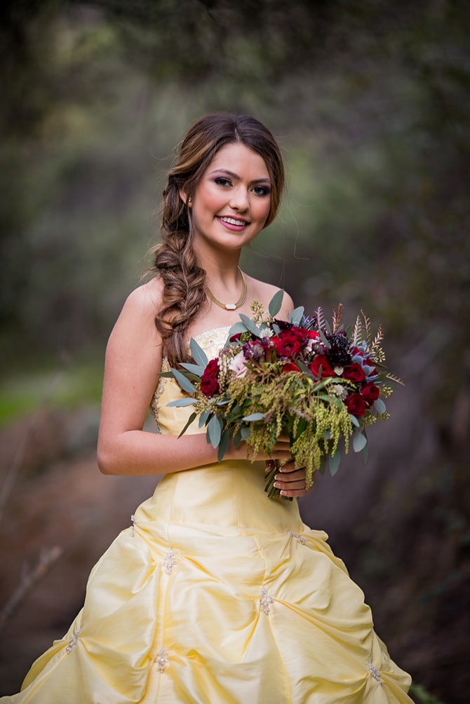beauty and beast wedding dress and bridal bouquets