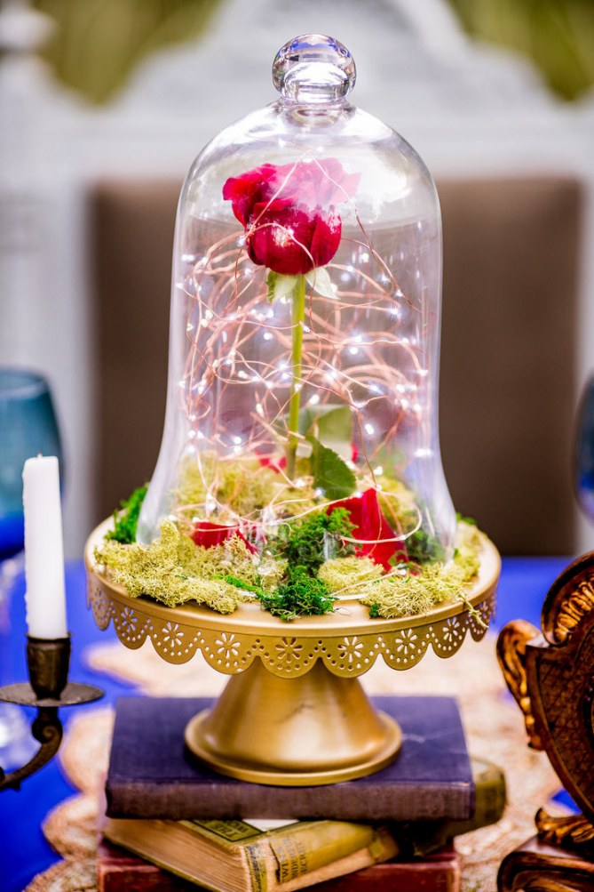 beauty and the beast inspired wedding centerpieces ideas