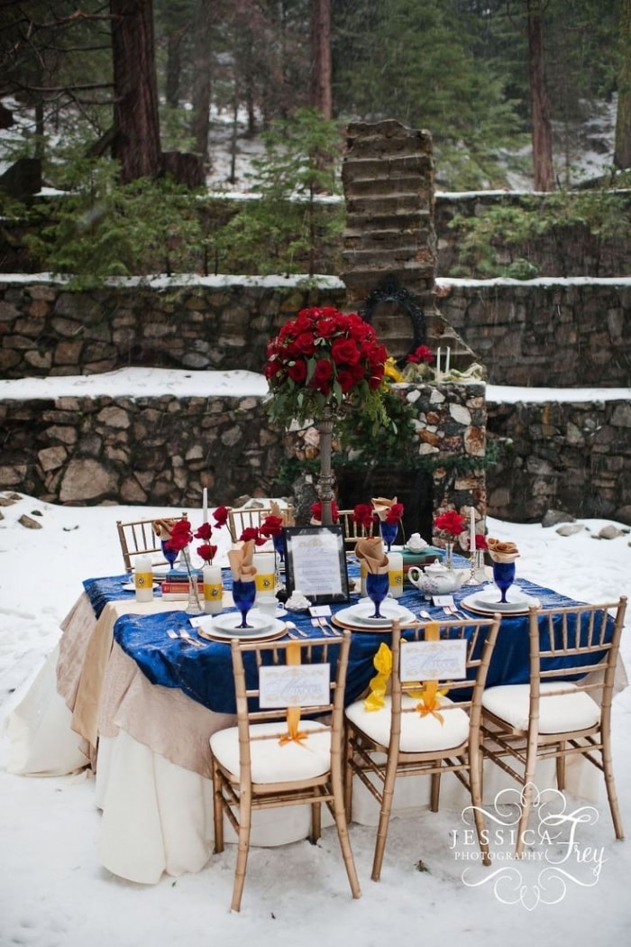 beauty and the beast winter wedding reception ideas