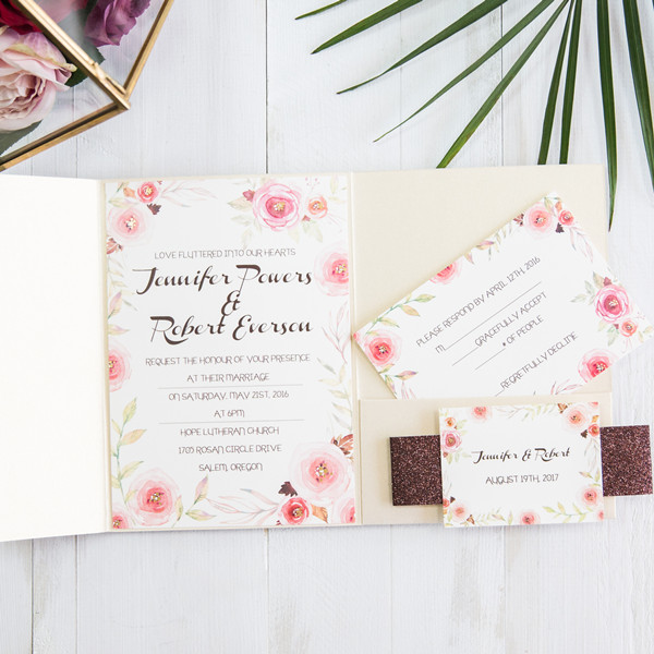 blush pink and ivory foil pocket wedding invitations