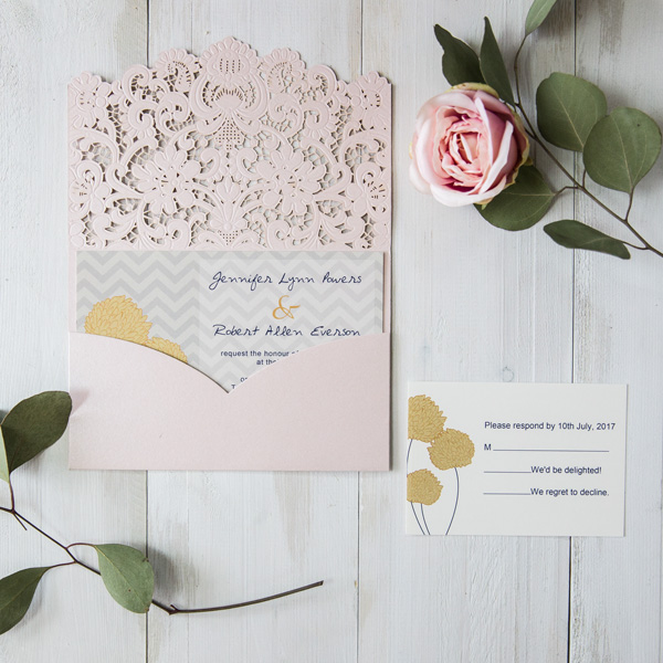 blush pink pocket laser cut wedding invites with chevron yellow flowers