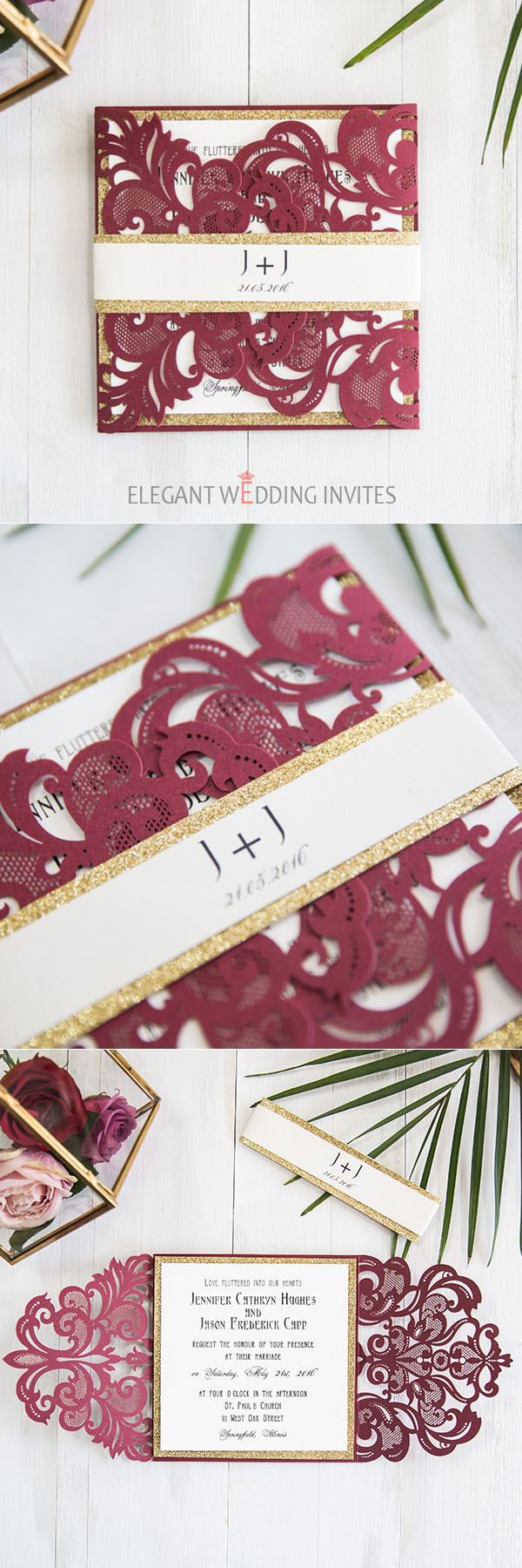 burgundy and gold laser cut wedding invitation suite