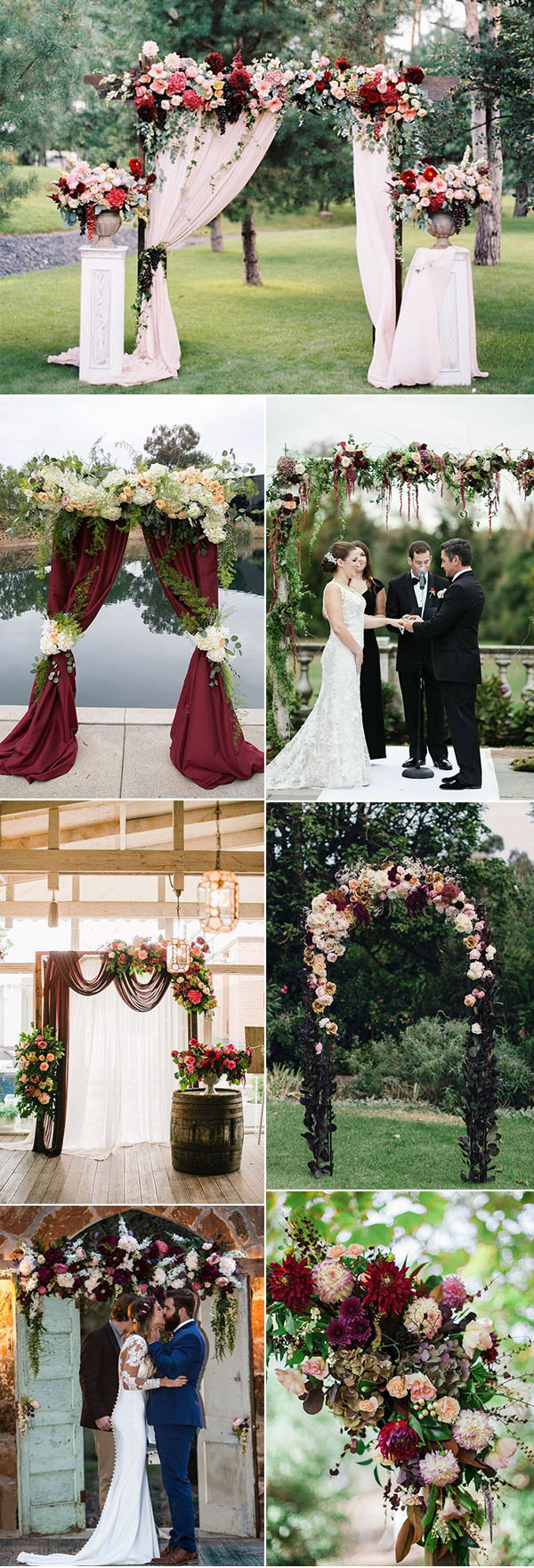 burgundy, maroon and marsala wedding ceremony arch and altar ideas