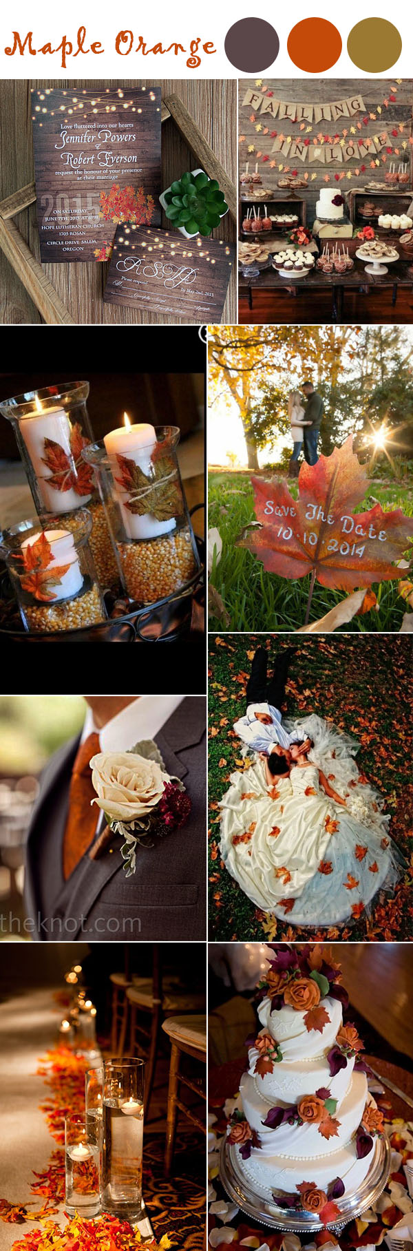 burnt orange maple leave fall wedding ideas and wedding colors