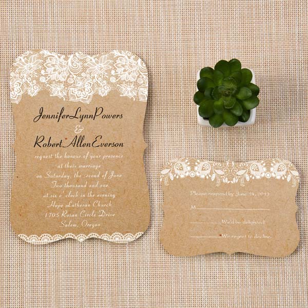 chic rustic lace bracket scallop wedding invitations