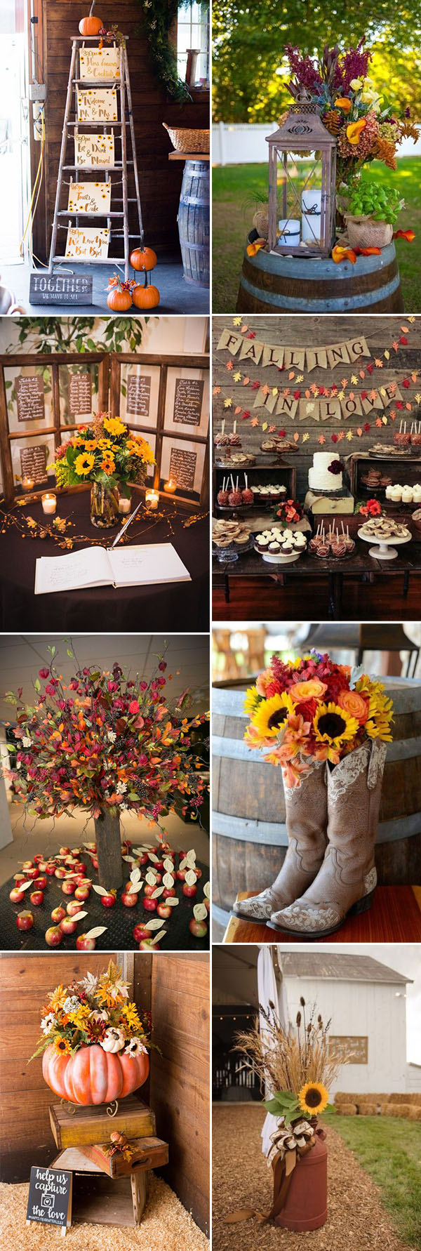 creative and pretty fall wedding reception decoration ideas