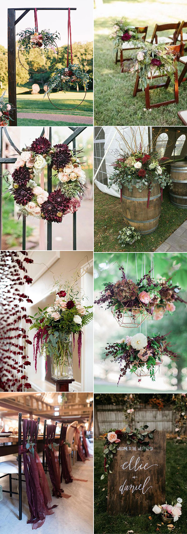 beautiful burgundy and marsala fall wedding decoration ideas