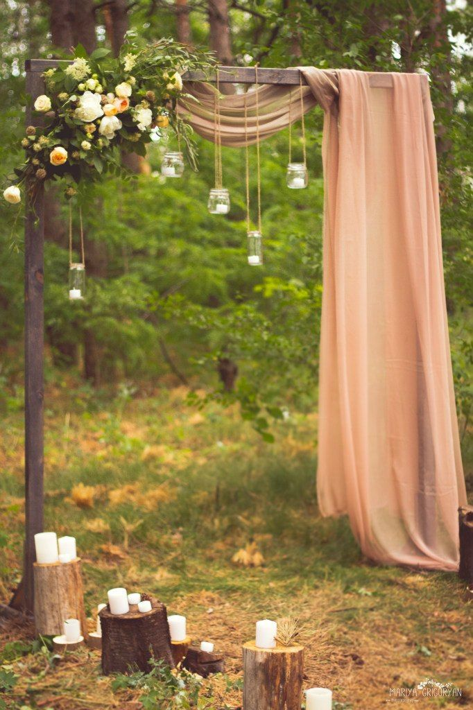 25 chic and easy rustic wedding arch ideas for diy brides creative wedding arch ideas with florals manson jar lights and drapery junglespirit Choice Image
