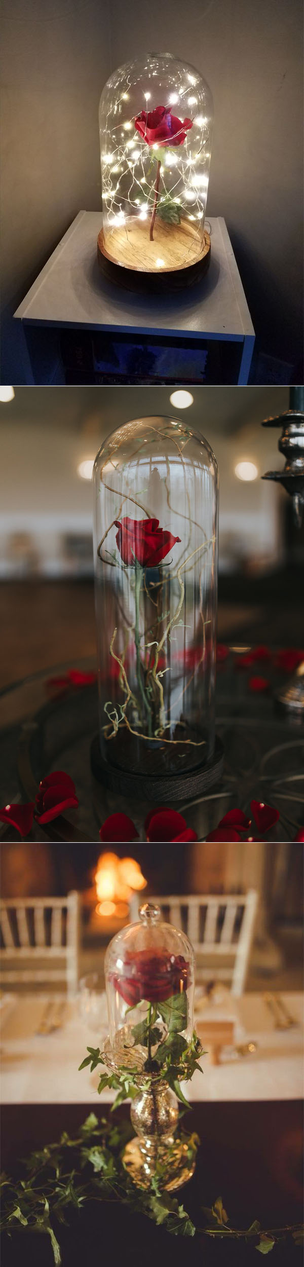 disney theme beauty and the beast rose wedding centerpieces