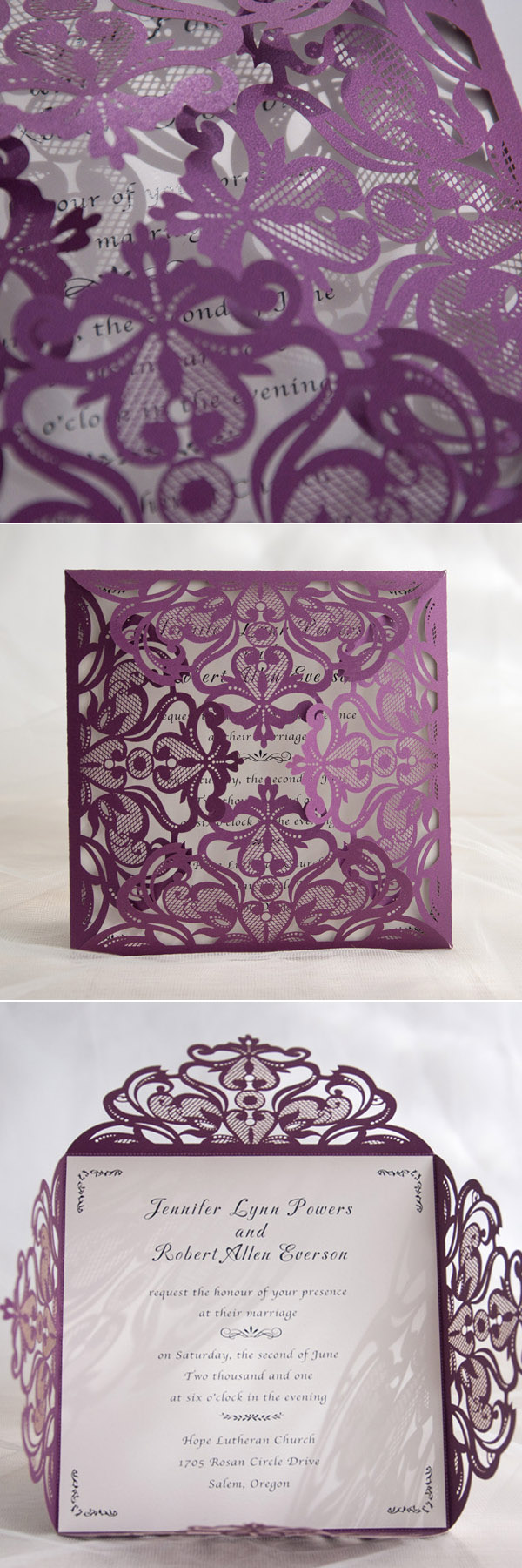 elegant and romantic purple laser cut wedding cards