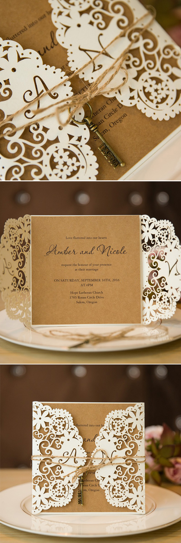 elegant laser cut rustic wedding invitations