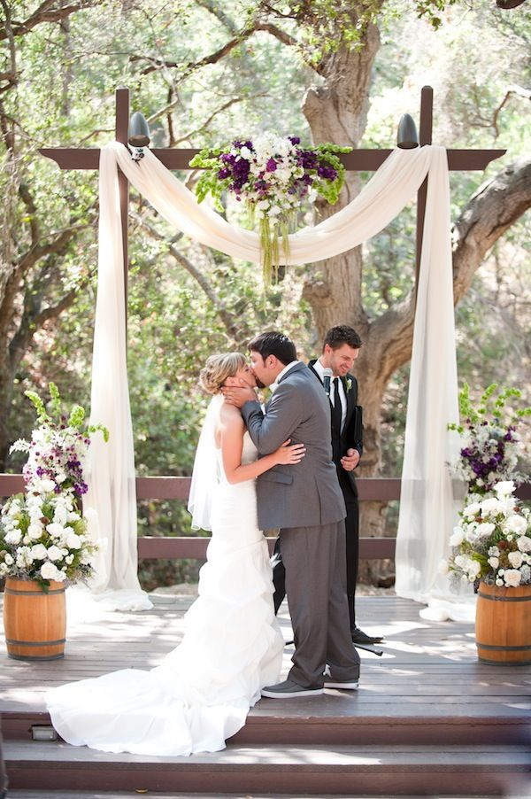 Floral Rustic Wooden Wedding Arches Decorating Ideas With Drapery