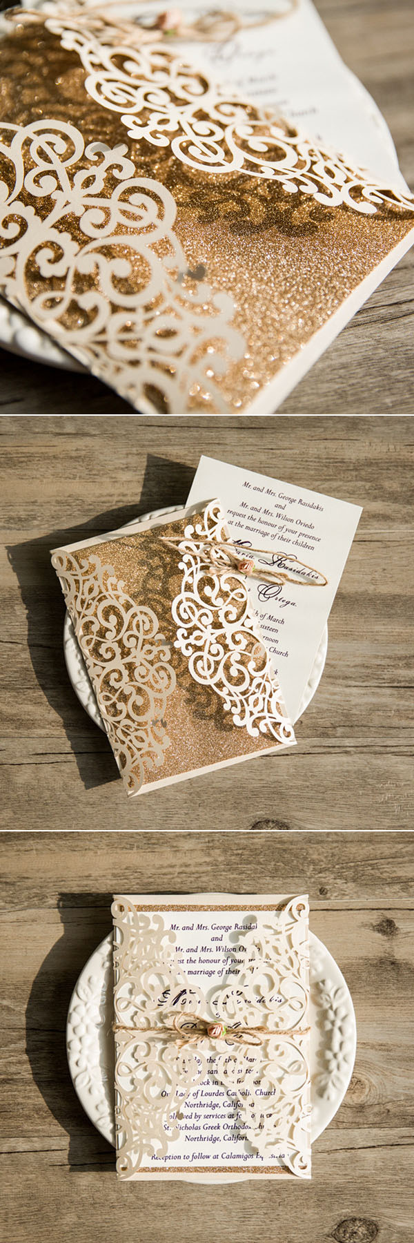 glitter gold glamour vintage laser cut wedding invitations