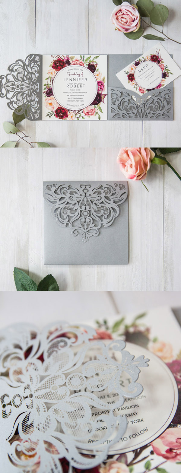 grey,blush and burgundy floral laser cut wedding invites