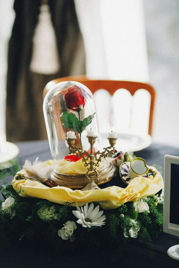 perfect disney Beauty and the Beast wedding table decor