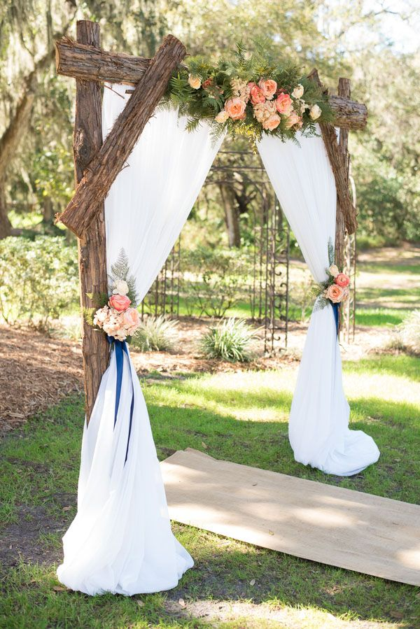 Pink And Navy Fl Rustic Wedding Arch Decoration Ideas