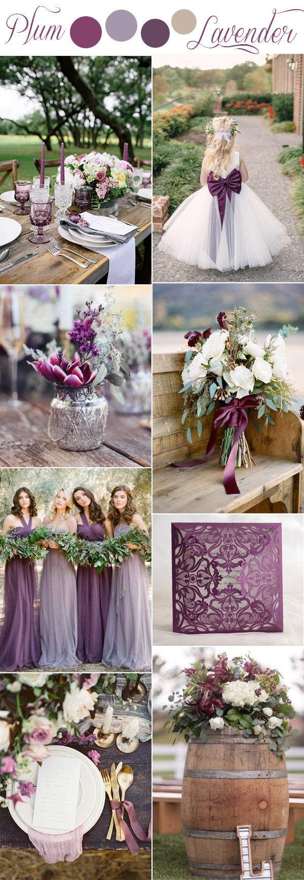 plum, lavender and lilac shades of purple romantic rustic wedding color ideas