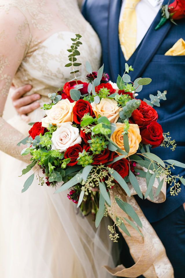 romantic beauty and the beast wedding bouqets