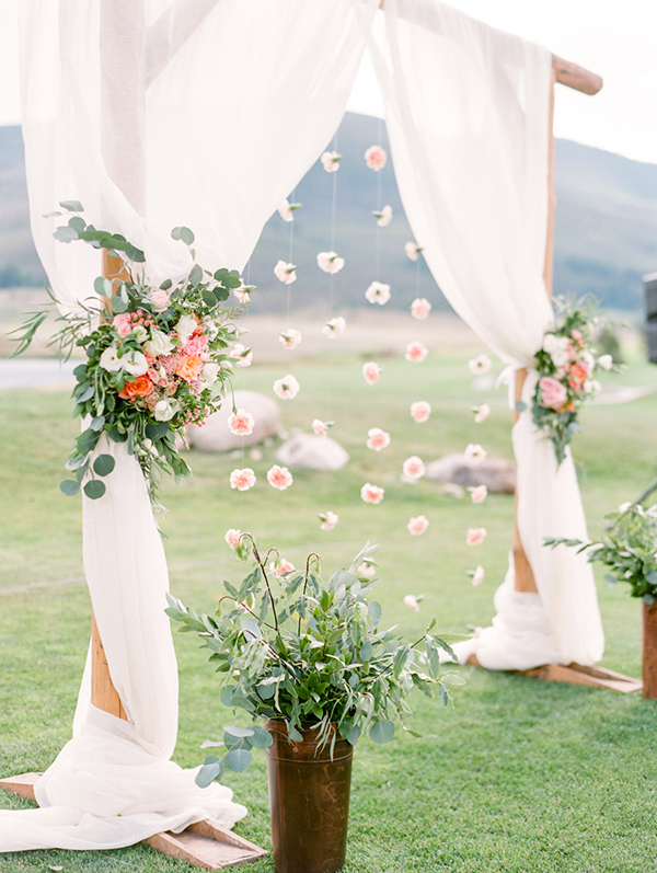 romantic floral spring wedding party arch ideas
