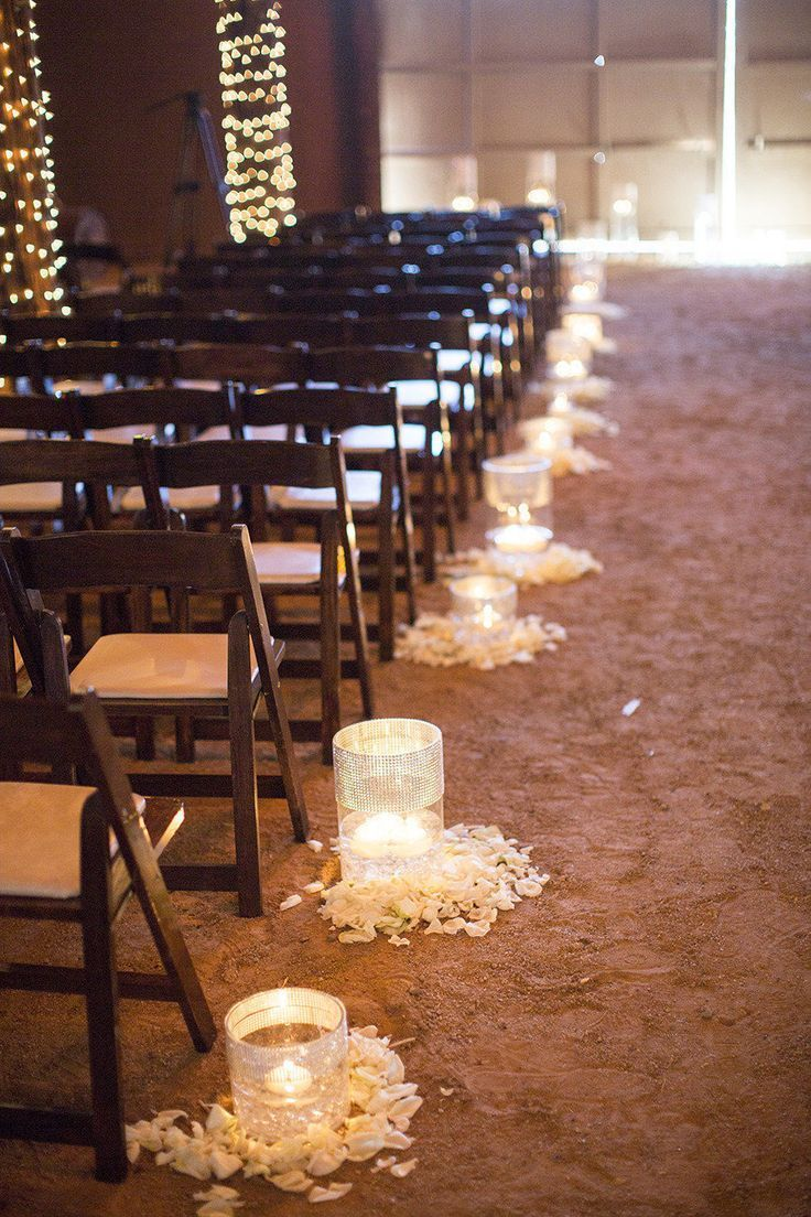 25 sweet and romantic rustic barn wedding decoration ideas romantic indoor barn wedding aisle decoration ideas with lights junglespirit Images