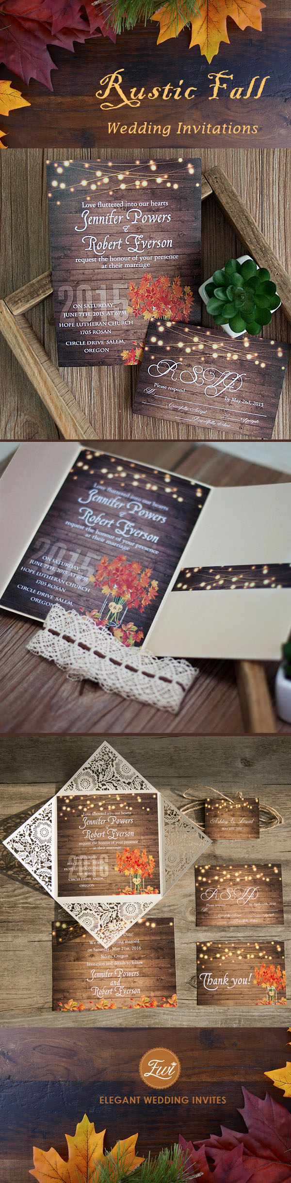 rustic fall wedding invitations