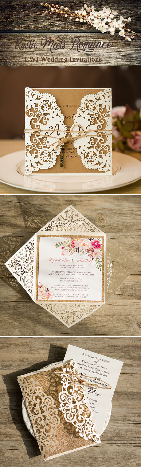 rustic meets romance wedding invitations collection