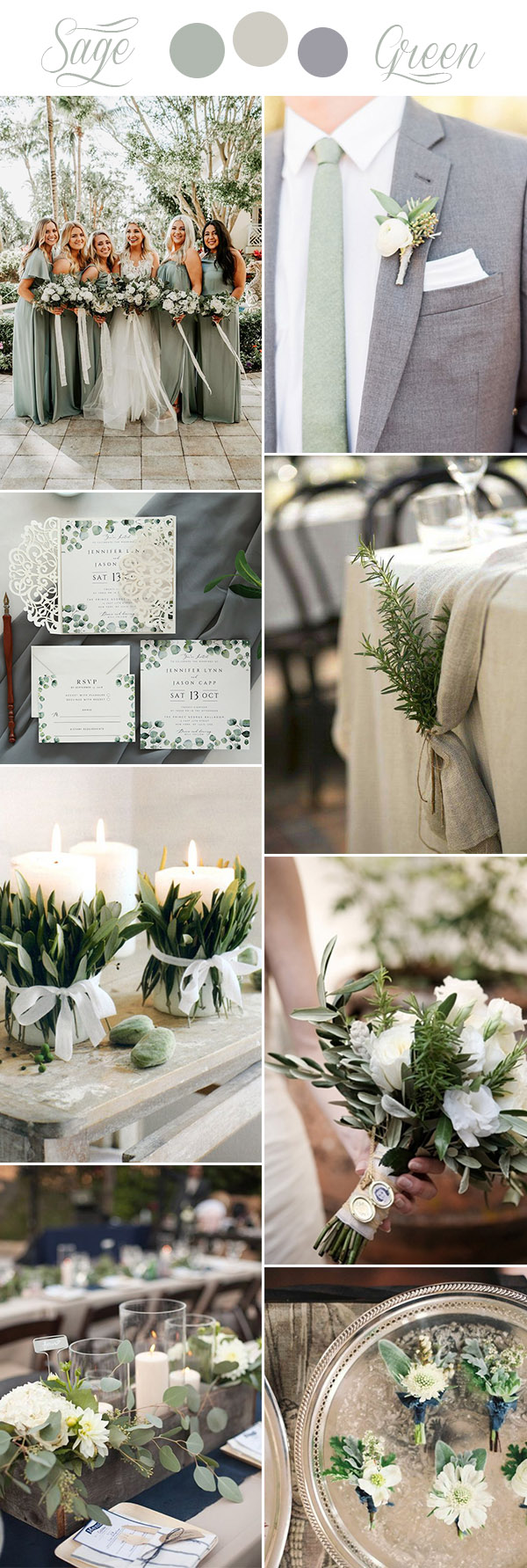 sage green, beige and grey rustic chic wedding colors